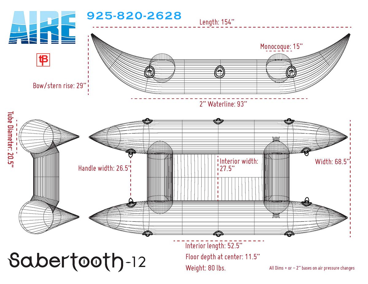 AIRE Sabertooth 12 Frameless Cataraft